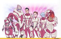 Mass Effect,фэндомы,ME art,Tali,Garrus,Kaidan,Femshep,Liara,Wrex,Scrappy195