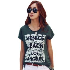 Fashion t-shirt  Women Summer Letter Print Casual t shirt Short Sleeve O Neck Cotton Tops Plus Size Tee Shirt Femme 2016  CSA243