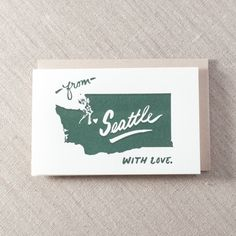 From Seattle with Love State - Letterpress Greeting Card, By Pike Street Press - Seattle