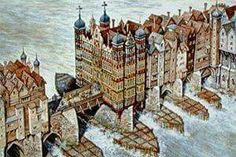 London Bridge in the late 16th century.