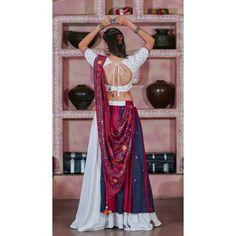 Navratri special white soft cotton multi worked chaniya choli for garba Garba Dress, Navratri Dress, Lehnga Dress, Indian Skirt, Dress Indian Style, Indian Dresses, Simple Lehenga Choli, Lehenga Collection, Blouse Designs