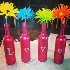 wine bottle DIY project, I would paint purple and have them on shelf in my room?! :) with gold and silver flowers