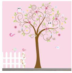 Swirl Flower Tree Nursery Wall Decal