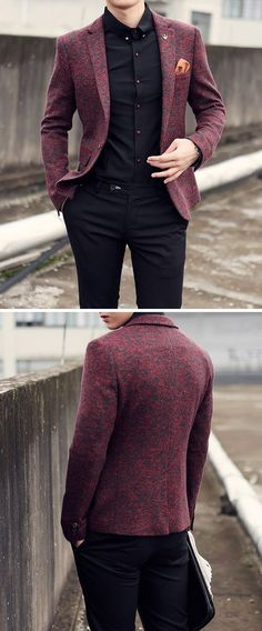 Mens High-Quality Casual - Men Blazers - Ideas of Men Blazers Blazer Outfits Men, Stylish Mens Outfits, Casual Blazer, Casual Outfits, Men Casual, Maroon Blazer, Men Blazer, Smart Casual, Indian Men Fashion