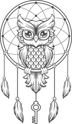 Owl dream catcher drawing 6 for native american mandala coloring Dream Catcher Drawing, Owl Dream Catcher, Dream Catcher Tattoo, Dream Catcher Painting, Dream Catcher Mandala, Dream Catcher Clipart, Dream Drawing, Owl Coloring Pages, Coloring Books