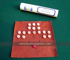 Fox and Geese - replica medieval leather board with wooden pieces