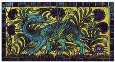William De Morgan, Dragon and Carnation tile panel (c. Tile Murals, Tile Art, Purple Carnations, Art Nouveau Tiles, Border Tiles, Tile Panels, Morgan, Pre Raphaelite, Art Uk
