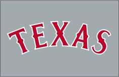 Texas Rangers Jersey Logo - TEXAS in red with white trim arched on grey. Worn on the Texas Rangers road jersey for the 1994 season only -- a blue outline was added for 1995 Mlb Team Logos, Mlb Teams, Sports Logos, Gangsta Tattoos, Pin Logo, Education College, Sports Pictures, Texas Rangers, Word Art