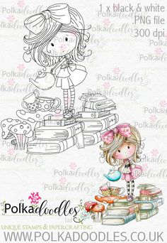 Winnie Wonderland Teatime - Printable Digital stamp download - Polkadoodles Ltd