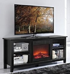 Electric Fireplace TV Stand Entertainment Center Wood Console Heater Insert Logs