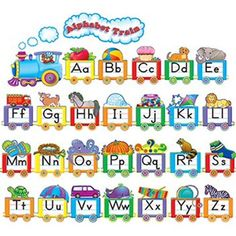Teacher Created Resources - Alphabet Train Bulletin Board Set on sale now! Bulletin Board Sets, classroom decorations, and more. Alphabet A, Alphabet Display, Alphabet Charts, Learning The Alphabet, Alphabet Games, English Alphabet, Train Bulletin Boards, Bulletin Board Display, Nursery Class Decoration