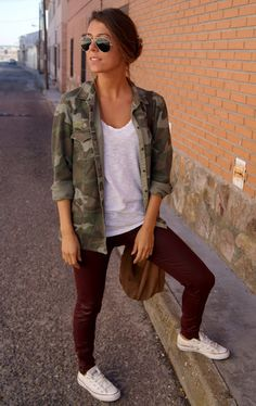 converse burgungy pants camo jacket AVIATORS. I would switch out the camo jacket for a plain olive or khaki jacket instead.
