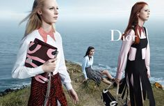 Shot at a rocky seaside cliff in Christian Dior's hometown of Granville, France, Dior's FW 2015 Campaign by Willy Vanderperre. l #fashion #women #dior
