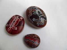 Reserved Claire 2 painted pebbles aboriginal by Sakamaliss