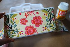 Cover a wipes case with fabric. Perfect to coordinate with other fabrics used in baby's room!