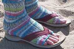 Toeless socks for my summer sandals at the beach on cool days.  Knit on mini circs! FREE Pattern-Ravelry: Flip Flop Socks pattern by Michele C Meadows