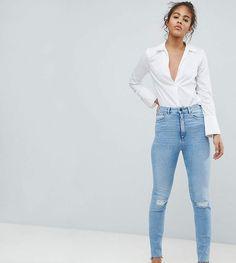 cdb79bcdf59 ASOS Tall ASOS DESIGN Tall Farleigh High Waist Slim Mom Jeans In Zaliki  Light Vintage Wash With Busted Knee And Rip   Repair Detai