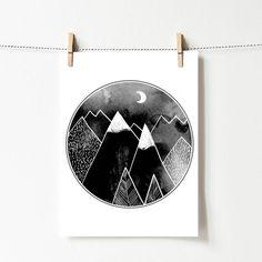 Plakat z grafiką: Góry - posterilla - Ozdoby na ścianę
