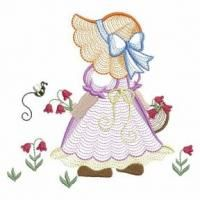 Embroidery Designs Beautiful roses featuring a fine rippled fill are digitized in convenient quilt blocks. - Sweet sunbonnet designs with attractive rippled fill are perfect for spring projects or items for little girls. Local Embroidery, Types Of Embroidery, Learn Embroidery, Ribbon Embroidery, Cross Stitch Embroidery, Embroidery Stitches Tutorial, Embroidery Techniques, Machine Embroidery Designs, Embroidery Patterns