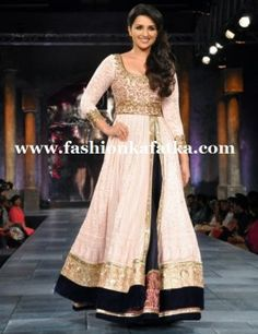 Parineeti Chopra Style White Lehenga Choli, Stunning designer bridal / wedding lehenga choli with long shirt and lehenga.