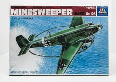 This Ju52 Minesweeper airplane model kit is made by Italeri in 1/72 scale.  The large ring would explode any mines. Brand new kit in a sealed box.