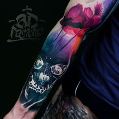 Skull and Flowers tattoo by A.d. Pancho