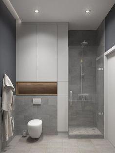 Aménagement d'une petite salle de bain principale scandinave avec un carrelage gris, un mur gris et un sol en carrelage de céramique.