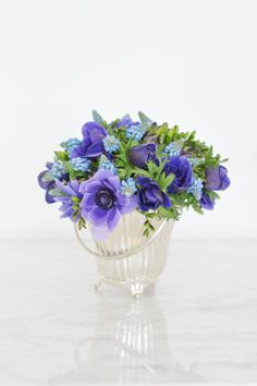 blue flower bouquet - anemones, freesia and muscari