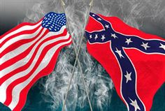 Union and confederate flags