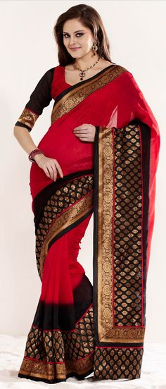 #Red and #Black Jacquard #Saree with Blouse @ $ 76.27