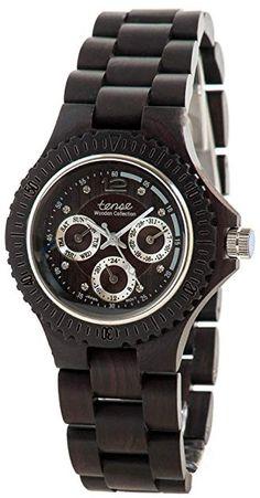 Tense Dark Sandalwood Olympic Hypoallergenic Wood Timber Wrist Watch (Black) Review