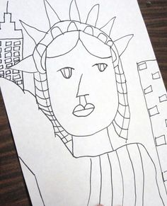 Drawing Lady Liberty; Lady Liberty gets a make-over.  Good idea for art project!