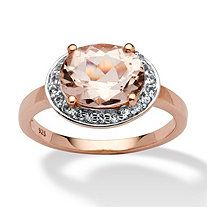2.74 TCW Oval-Cut Morganite and White Topaz Accent in Rose Gold over Sterling Silver