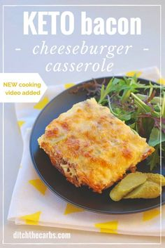 Quick recipe for keto bacon cheeseburger casserole. Now with a NEW cooking video. Grain free, low carb and gluten free slice of cheesy heaven. | ditchthecarbs.com via @ditchthecarbs