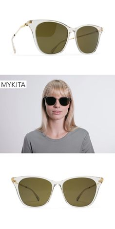 The MYKITA Sunglasses - Nilak features a cat-eye shape in a clear champagne color. The Nilak is also available in 3 other colors.