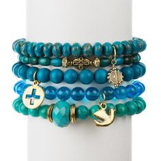 A great gift for Mother's Day to support Water.org | Turquoise & Wood Set of Five from Chavez for Charity | http://www.chavezforcharity.com/collections/water-org-blue