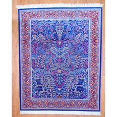 Sino Hand-knotted Blue/ Red Kerman Wool Rug (8' x 10') | Overstock.com--------$1899---------