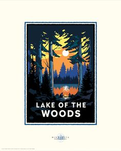 Lake of the Woods - Sun Country Minnesota Lakes Project - art by Mark Herman Horse Logo, Art Deco Posters, Saturated Color, Vintage Travel Posters, Pigment Ink, Framed Art, Wall Art, Wall Mural, Wood Print