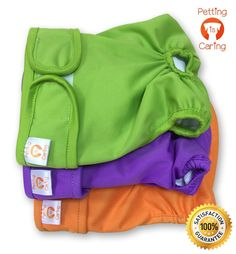 Dog Diapers Washable and Reusable by PETTING IS CARING - Female and Male Dog Diapers Best Quality Materials Durable Machine Washable Solution For Pet Incontinence And Long Travels - 3 Pack Set * For more information, visit image link. (This is an affiliate link and I receive a commission for the sales)