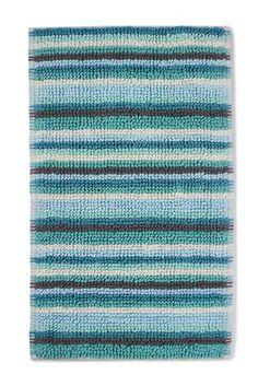 Teal Chenille Stripe Bath Mat
