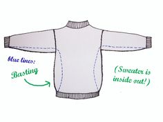 The Naked Seamstress: Sweater Refashion Tutorial - Great for oversized sweatshirts, sweaters or tees.
