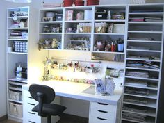 Original pinner sez: My scraproom Ikea Pax. I particularly like the rail and other storage above desk top.