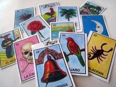 Set of 12 Handcut Mexican Loteria Stickers by jemzy on Etsy, $4.00