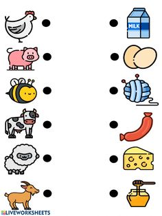 Farm animals and their products - Interactive worksheet Farm Animals Preschool, Farm Animal Crafts, Animal Crafts For Kids, Fun Worksheets For Kids, Animal Worksheets, Preschool Worksheets, Toddler Learning Activities, Preschool Learning Activities, Animal Activities