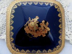 Vintage Imperia Limoges Porcelaine, Cobalt Blue and 22K Gilded Gold Trinket Box with lid, The Proposal, Made in France