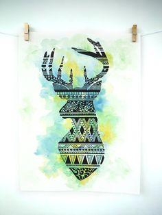 Deer Tribal Print Deer Print Nature Print by WirebirdStudio, $10.00