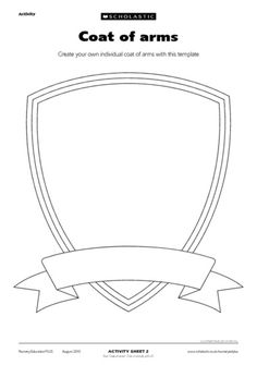 Coat of arms – FREE Early Years teaching resource - Scholastic Medieval Crafts, Medieval Party, Shield Template, Early Years Teaching, Castle Crafts, Activities For Kids, Crafts For Kids, Knight Party, Medieval Times