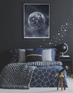 Say hello to my navy blue full moon . Friendly moon art from My - MOON Collection Girls Bedroom Colors, Blue Bedroom Decor, Teen Room Decor, Bedroom Themes, Room Decor Bedroom, Navy Blue Decor, Navy Blue Wall Art, Blue Wall Decor, White Bedroom