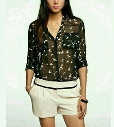 Express Portofino chiffon bird shirt blouse womens size xs used sheer summer   Clothing, Shoes & Accessories, Women's Clothing, Tops & Blouses   eBay!