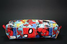 Boxy Makeup Bag - Marvel Spiderman Comic Panel Print Zipper - Pencil Pouch for $10 +s&h by LittlePeachFuzz on Etsy
